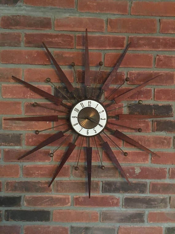 Vintage Elgin Starburst Sunburst Mid Century Modern Wall Clock