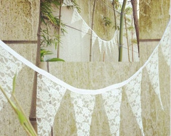 country wedding decorations, wedding pennant, lace banner, rustic wedding Lace Bunting Banner, shabby wedding banner, Wedding Backdrop