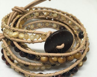 Beaded Brown Leather Wrapped Bracelet