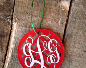 "Christmas Ornaments Personalized Christmas Ornaments Monogrammed Christmas Ornaments 3"" Round Acrylic Ornament Christmas Ornament"