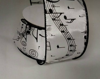 """2 1/2"""" wide ribbon with music notes"""