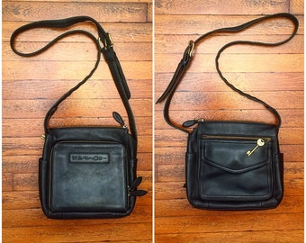 Fossil Brand Black Leather Handbag, Ctossbody Style Purse