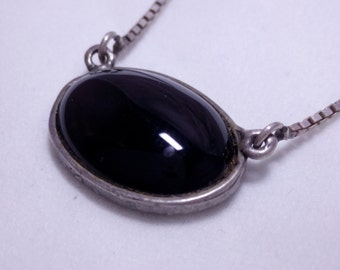 Antique Onyx Sterling silver necklace, 925 silver onyx, hand made jewelry.