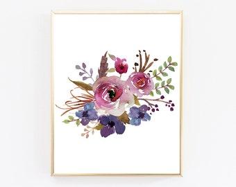 Digital Download Art, Floral Wall Art, Botanical Print, Wall Printables, Large Wall Art, Watercolor Printable, Poster Print, Poster Art