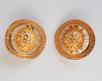 Large Gold Tone Sun Clip On Earrings