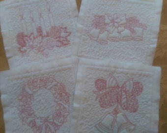 Red Work Quilt Squares