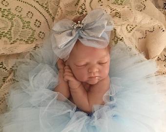 Light blue tutu with matching bow headband, baby blue tutu, newborn tutu,  photo prop, Cinderella tutu, first birthday, cake smashI