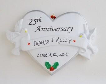 25th Wedding Anniversary Personalized Ornament - 25th Anniversary Christmas Ornament
