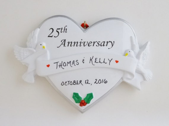 34th Wedding Anniversary Gifts: 25th Wedding Anniversary Personalized Ornament 25th