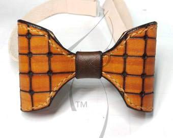 Tan & Chocolate Leather Bowtie
