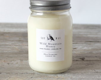 WILD MOUNTAIN HONEY - Soy Candle - 16 oz. Mason Jar Candle - Scented Candle - Old Sterling Candle Co.