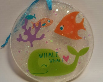 Whale and Fish Window Ornament