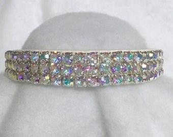 Sugarlicious Pets ™ ~Angel in Rainbow Aurora Borealis on White~ Crystal Diamante Rhinestone Dog Pet Collar WIDE with LARGE Stones USA