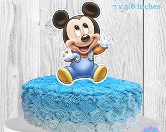 Baby Mickey Mouse Cake Topper, Centerpiece PRINTABLE, You Print