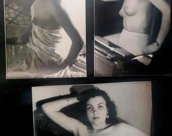 3 photo, 1950 s, Glamour, girl, tits, Sensual, Nude, Original, Rare, woman, art, sexy