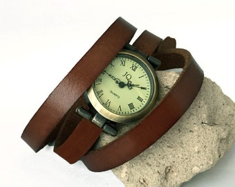 watches for women, leather bracelet color to personalize brown or black