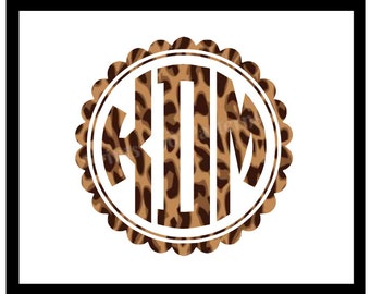 Scalloped Circle Vinyl Monogram in the perfect Leopard Print! Traditional Show your wild side with an animal print monogram on your car!