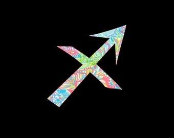 Sagitarius Sign of the Zodiac Custom Vinyl Decal, Preppy Prints, Sun Sign, Star Sign, Zodiac Symbol Sticker, Car Decal