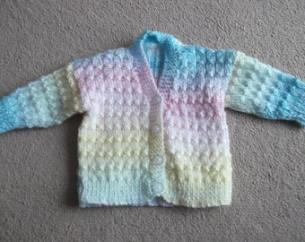 multi coloured baby cardigan this item can be made in the colour and size of your choice
