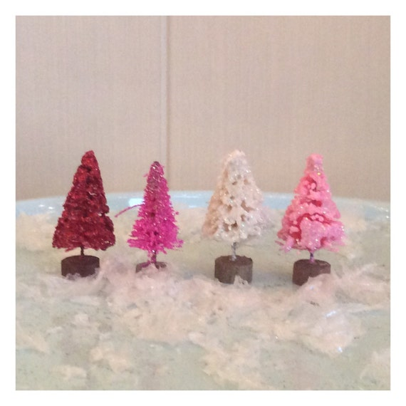 Miniature Valentines set of 4 1in tall trees pinks, red, white sisal trees