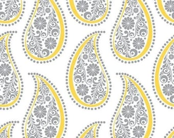 Yellow Matters Paisley Printed White Cotton Fabric by Emma & Mila, Fabric End of Bolt