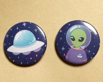 alien, UFO, astronaut, galaxy, space, pin button, pin buck, kawaii,