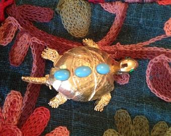 Vintage Pell Turtle Pin Brooch.