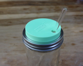 Mason Jar Tumbler Lid | Mason Jar Straw Hole Lids | Drinking Lids for Wide Mouth Mason Jars | Mint, Coral, Grey, or Blue