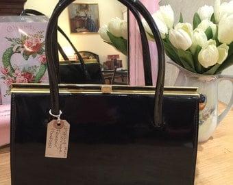 Vintage Freedex Black Patent Leather Handbag