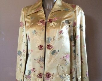 Vintage Silk Panio Jacket Coat Asian Oriential made in Hong Kong