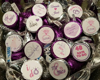 Hershey Kiss Stickers, Wedding, Bridal Shower, Stickers for Favor Bags, Personalized Stickers, Labels, RSVP, Seals, Thank You Stickers