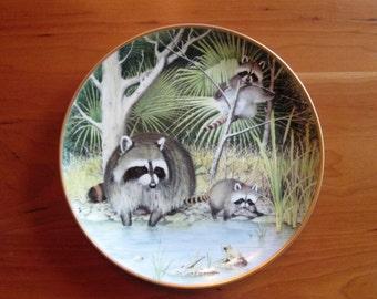 Peter Barret, The Woodland Year Curious Raccoons at an April Pond,  Calendar Plate  Franklin Porcelain