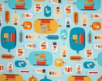 10.25 Yard - Robert Kaufman Message In A Bottle -  Bottles Ocean - Nautical Fabric