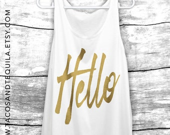 HELLO Adele From The Other Side Concert Summer tank summer Top pop Shirt Party beach tank girlfriend gift bridesmaid Beach Tank White/GOLD!