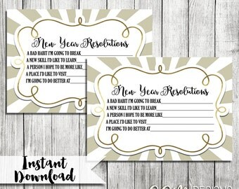 New Year Resolution Card, New Years Party Game, New Years Eve Party, NYE Party Game, NYE Resolution Card, New Years Party, 2016 Resolution