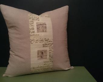 Rustic 16x16 neutral decorative patchwork pillow with linen cotton
