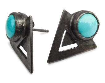 Sterling Silver Earring Studs with Genuine Turqouise Gemstone Art deco