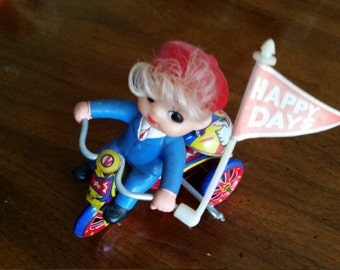 Vintage MTU Made in Korea Wind Up Happy Days Boy on Tricyle