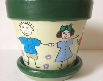 Hand Painted Planter, Terracotta Planter, Green Planter, Planter Saucer, Teacher Gift, Plant Pot, Gift For Teacher-Home Decor/Garden Decor.