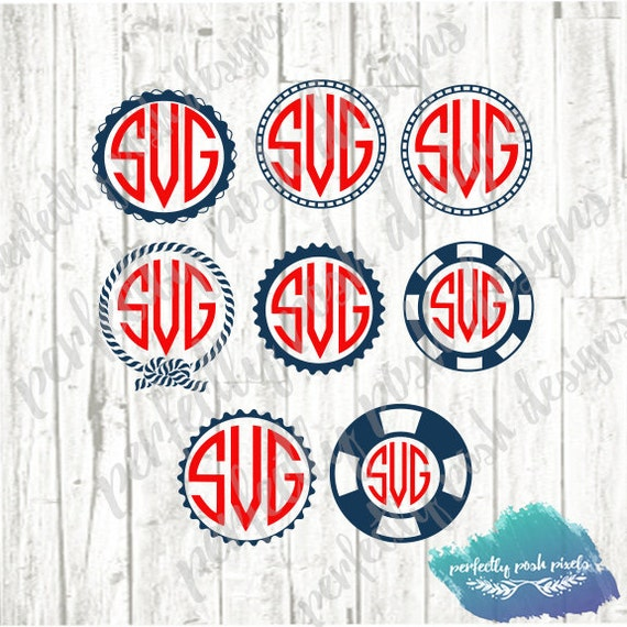 SVG Nautical Anchor Rope Monogram Frames Svg Dxf Eps