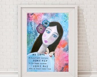 "Fine art painting, print, modern, love, for singles, portrait, typography, reproduction, painting ""My Love"""