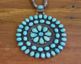 Vintage Sterling Silver and Turquoise Cluster Necklace