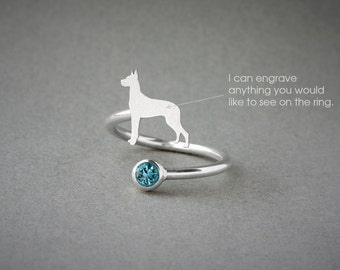 Adjustable Spiral GREAT DANE BIRTHSTONE Ring / Great Dane Birthstone Ring / Birthstone Ring / Dog Ring