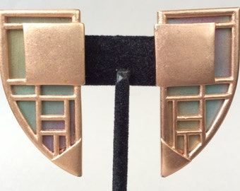 Monet Copper Modernist Art Deco Clip Earrings