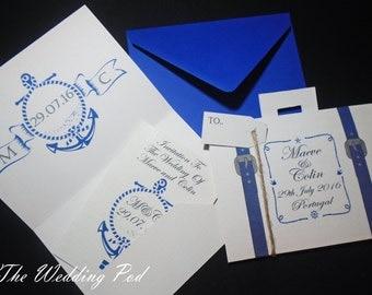 Suitcase and passport wedding invitation destination wedding, vintage, nautical, anchor