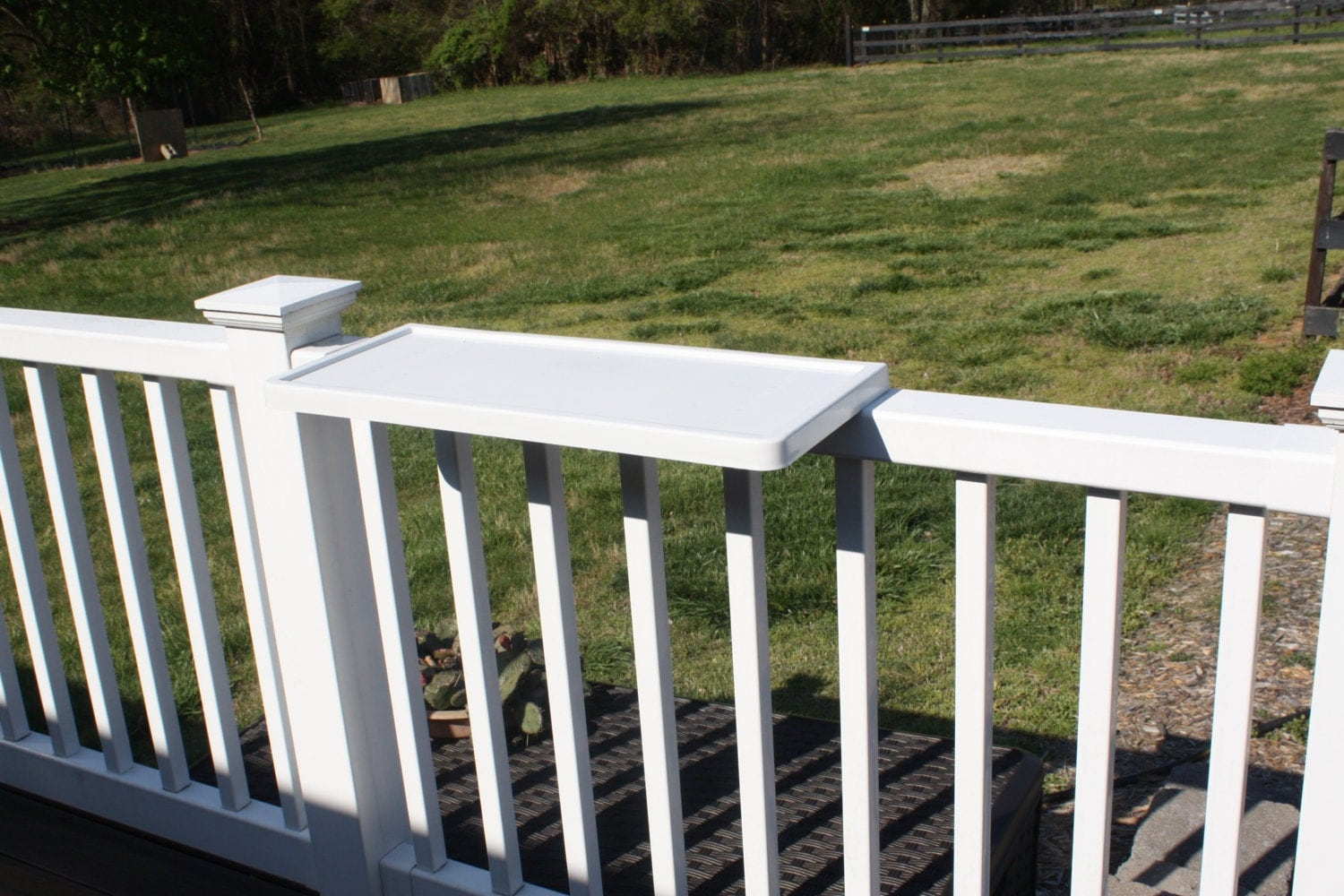 Patio deck rail fence shelf by decor home systems