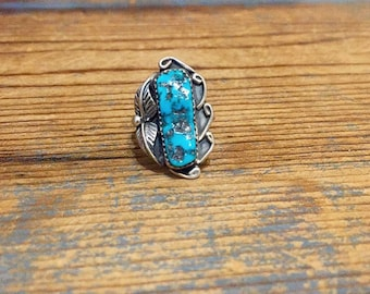 Vintage Native American, Navajo, Sterling Silver Turquoise and Feather Ring