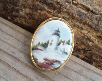 Collectible Lighthouse pin oval Christmas lighthouse pin Holiday jewelry Christmas jewelry Christmas pin light house brooch - 261