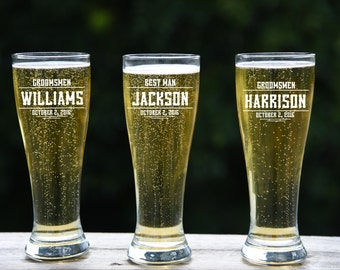 Groomsmen Gift, 14 Personalized Beer Glasses, Custom Engraved Pilsner Glass, Wedding Party Gifts, Gifts for Groomsmen, 16oz Glasses, Custom