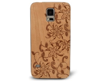 Genuine Wood Cell phone Case with Leafy Floral Plumeria Henna Doodle Freehand Pattern Laser Engraving for Galaxy S5, S6 and S6Edge S-004